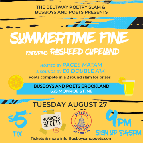 BUSBOYS AND POETS Present: the BELTWAY POETRY SLAM 8.27.18