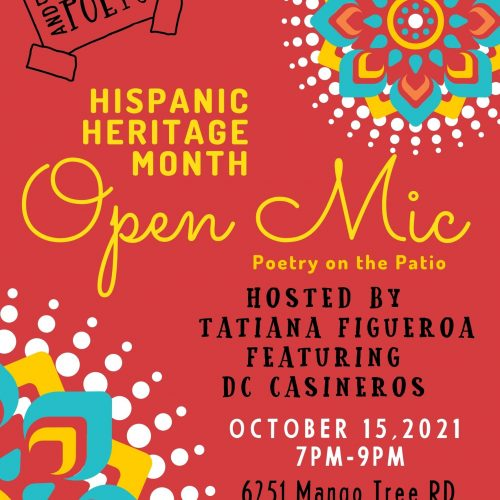 Open Mic:Poetry on the Patio hosted by Tatiana Figueroa Featuring DC Casineros